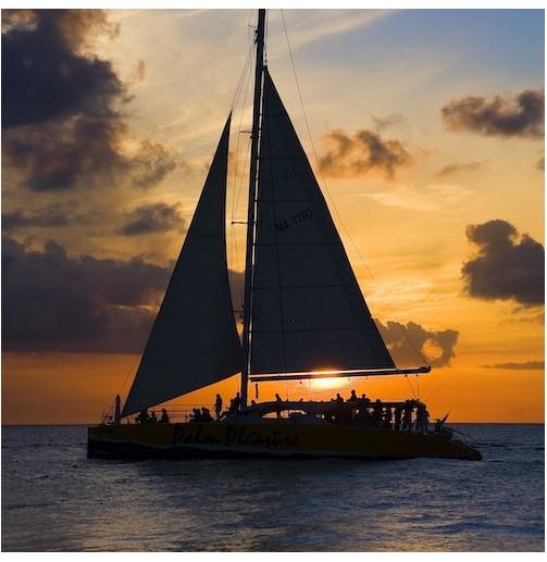 Puesta de sol en catamarán...